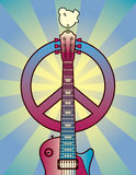 Tribute to Woodstock. An illustration of a dove, peace symbol and guitar on a sunburst background royalty free illustration