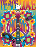 Tribute to Woodstock. An illustration of a guitar, peace symbol and dove dedicated to the Woodstock Music and Art Fair of 1969. Elements are on separate layers vector illustration