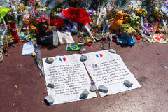 Tributes in Nizza, France, for victims of terror attac Royalty Free Stock Photos
