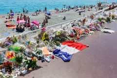 Tributes in Nizza, France, for victims of terror attac Royalty Free Stock Photography