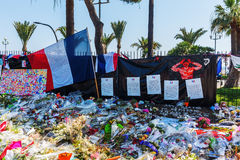 Tributes in Nizza, France, for victims of terror attac Stock Images