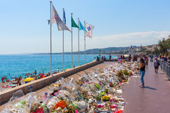 Tributes in Nizza, France, for victims of terror attac Royalty Free Stock Photo