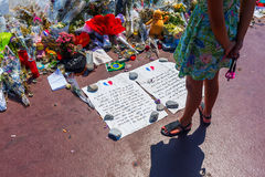 Tributes in Nizza, France, for victims of terror attac Royalty Free Stock Image