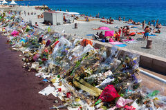 Tributes in Nizza, France, for victims of terror attac Stock Photo