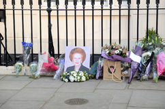 Tributes To Ex British Prime Minster Margret Thatcher Who Died L. London - April 8: Tributes for Ex British Prime Minster Margret Thatcher Victoria in London Stock Image