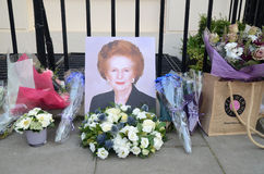 Tributes To Ex British Prime Minster Margret Thatcher Who Died L. London - April 8: Tributes for Ex British Prime Minster Margret Thatcher Victoria in London stock photo