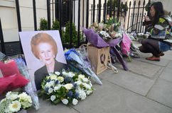 Tributes To Ex British Prime Minster Margret Thatcher Who Died L. London - April 8: Tributes for Ex British Prime Minster Margret Thatcher Victoria in London royalty free stock image
