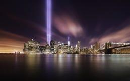 9-11 Tributlichter, Manhattan New York Stockbild