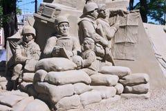 Tributo ai veterani, scultura della sabbia fotografia stock libera da diritti