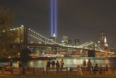 Tributo all'indicatore luminoso per honor lle vittime di 9/11-2001 Fotografia Stock