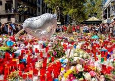 Tributo alle vittime del attacco terroristico di Barcellona Immagini Stock Libere da Diritti