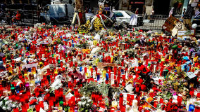 Tributo alle vittime del attacco terroristico di Barcellona Fotografia Stock