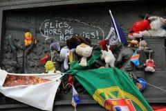 Tributo commovente nel ricordo dell'attacco a Charlie Hebdo, Place de la Republique, Parigi, Francia, 2016 Immagini Stock Libere da Diritti