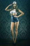 Tributo d'annata grazioso della donna del marinaio Fotografia Stock Libera da Diritti
