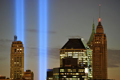 Tributo de WTC 9/11 en primer ligero Imagen de archivo libre de regalías