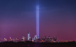 Tributo del 11 de septiembre en luz fotografía de archivo libre de regalías