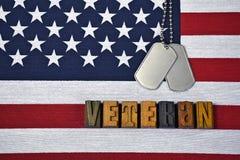Tributo del veterano con las placas de identificación en bandera imágenes de archivo libres de regalías