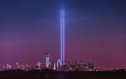 Tributo dell'11 settembre all'indicatore luminoso Fotografia Stock Libera da Diritti