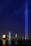 Tributo en la luz 9/11 Manhattan 2013 Imágenes de archivo libres de regalías