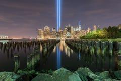 Tributo en luz - 11 de septiembre Foto de archivo