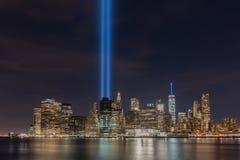 Tributo en luz - 11 de septiembre Foto de archivo libre de regalías
