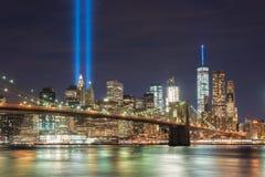 Tributo en luz - 11 de septiembre Fotografía de archivo libre de regalías