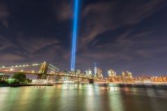 Tributo en luz - 11 de septiembre Fotografía de archivo
