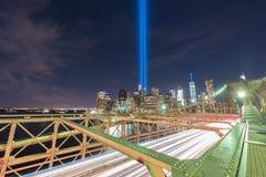 Tributo en luz - 11 de septiembre Imágenes de archivo libres de regalías