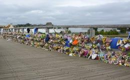 Tributo floral del desastre de Shoreham Airshow Foto de archivo
