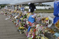 Tributo floral del desastre de Shoreham Airshow Fotografía de archivo libre de regalías