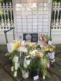 Tributo floral para el último ex primer ministro de Singapur, Sr. Lee Kuan Yew Fotos de archivo libres de regalías