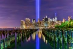 Tributo in luminoso 11 settembre Fotografie Stock Libere da Diritti