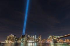Tributo in luminoso 11 settembre Immagini Stock Libere da Diritti