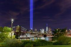 Tributo in luminoso 11 settembre Fotografia Stock Libera da Diritti