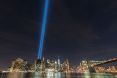 Tributo na luz - 11 de setembro Imagens de Stock Royalty Free