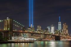 Tributo na luz - 11 de setembro Fotos de Stock Royalty Free
