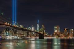 Tributo na luz - 11 de setembro Imagem de Stock