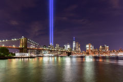 Tributo na luz - 11 de setembro Imagens de Stock