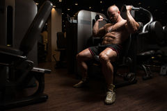Triceps Exercise In A Gym Royalty Free Stock Photo