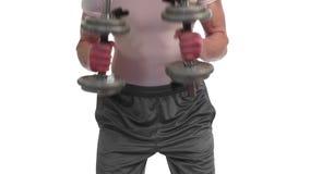 Triceps Kickback. Exercise. Studio shot over white stock footage