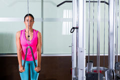 Triceps pressdown high pulley workout woman Stock Photo