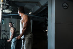 Triceps Pulldown Workout. Young Man On The Triceps Pulldown Weight Machine At A Health Club Stock Photo
