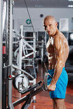 Triceps workout at a cable machine Royalty Free Stock Photo