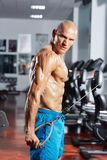 Triceps workout at a cable machine Stock Photography