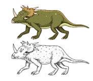 Triceratopo del dinosauro, scheletri, fossili Rettili preistorici, animale inciso disegnato a mano nel vecchio schizzo Immagine Stock Libera da Diritti