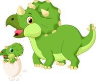 Triceratopo della madre del fumetto con la covata del bambino illustrazione vettoriale