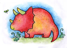 Triceratops. A young Triceratops. Art marker on vellum Royalty Free Stock Image