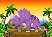 Triceratops cartoon with landscape background Stock Photography