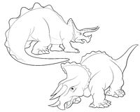 Triceratops cartoon lineart Royalty Free Stock Images
