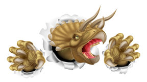 Triceratops Dinosaur Claws Tearing. Triceratops dinosaur scratching, ripping and tearing through the background with its claws Stock Image